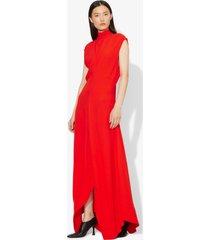 proenza schouler crepe mock neck dress poppy/red 0
