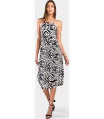tianna zebra slip dress - black