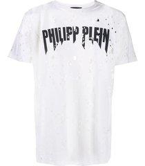 philipp plein destroyed t-shirt - white