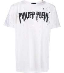 philipp plein destroyed t-shirt - white