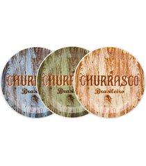conjunto prato churrasco brasileiro sortido 3 peã§as - multicolorido - dafiti