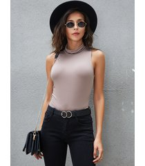 yoins basics rosa blusa sin mangas ajustada con cuello alto