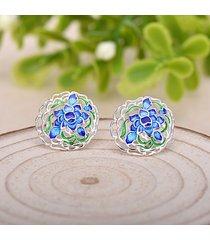 donna orecchini etnici a chiodo in 925 argento placcato di blu fiore in smalto gioielli anallergici regalo per lei