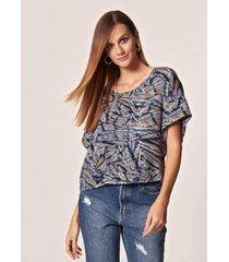 blusa mob ampla estampa filete geométrico estampado - feminina - feminino