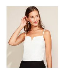 top cropped feminino com lastex alça fina decote v off white