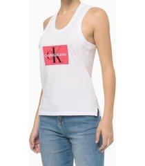 blusa regata feminina logo ck branca calvin klein jeans - g