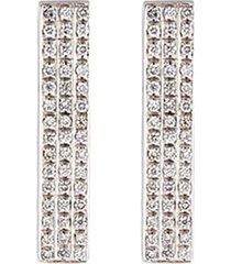 diamond 18k white gold bar clip earrings