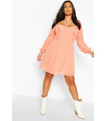 plus dobby mesh square neck skater dress, coral