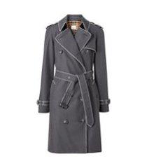burberry trench coat com acabamento contrastante - cinza