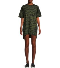 electric & rose women's catalina camo tie-dye t-shirt dress - army onyx - size l