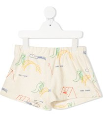 bobo choses playground all over terry fleece shorts - neutrals