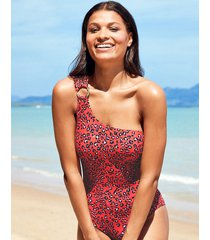 mala non wired one shoulder tummy control leopard print one-piece swimsuit