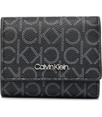 calvin klein trifold monogram-print purse - black
