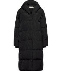 liyaiw boxy coat gevoerde lange jas zwart inwear