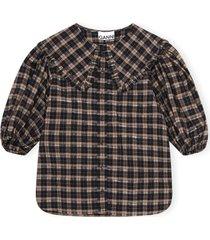 seersuker overhemd met peter pan-kraag