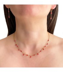 collar delicado cristal rojo