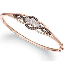 le vian chocolate diamond (1/5 ct. t.w.) & vanilla diamond (3/8 ct. t.w.) bangle bracelet in 14k rose gold