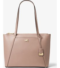 mk borsa tote maddie media in pelle a grana incrociata - marrone chiaro (naturale) - michael kors