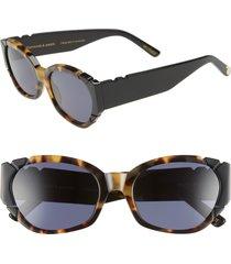 women's pared diamonds & pearls 54mm square cat eye sunglasses - dark tortoise/black grey lens