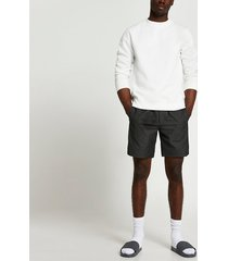 river island mens black textured pull on shorts