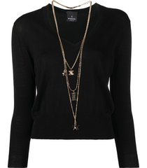 pinko sinding three-necklace knitted jumper - black