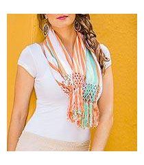 cotton infinity scarf, 'exuberant beauty in coral' (guatemala)
