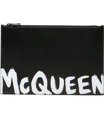 alexander mcqueen graffiti logo pouch