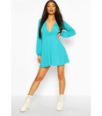 jumbo rib plunge balloon sleeve skater dress, turquoise