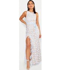 kanten maxi jurk met split en ruches, hemelsblauw
