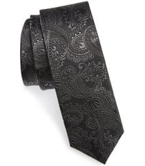 men's the tie bar textured paisley silk tie, size regular - black
