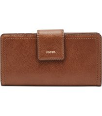 fossil women's logan leather tab clutch wallet