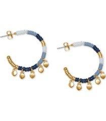 lucky brand gold-tone charm beaded hoop earrings