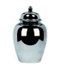 pote potiche cerâmica decoração prata 24,5x40x24,5cm
