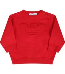 armani collezioni red sweater for babyboy with logo