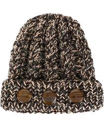 0711 stone-detail knit beanie - grey