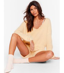 womens get a luxe in fluffy knit shorts lounge set - lemon