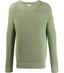 ami ribbed roll-neck knitted jumper - green