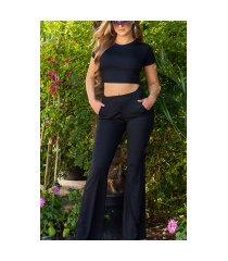 sexy 2 piece-set croptop met strik + hoge taille broek zwart