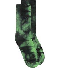 aries logo-print tie-dye socks - green