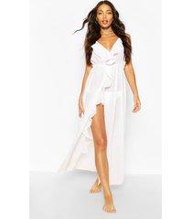 maxi strand jurk met franjes en split, wit