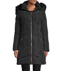 faux fur-trim down parka coat