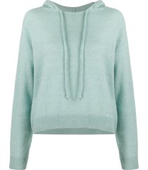 lanvin button detail relaxed hoodie - blue