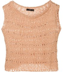 voz open knit crop top - brown
