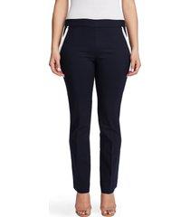 women's chaus contrast pocket pull-on cotton blend pants, size x-large - blue