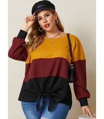 camicetta annodata a maniche lunghe con scollo a o patchwork taglie forti per le donne