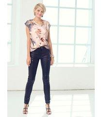 glansiga jeans cream svart