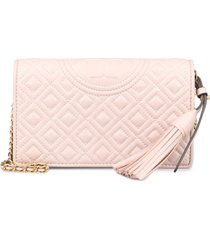 tory burch fleming quilted leather wallet on chain