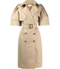 alexander mcqueen wild short sleeve trench coat - neutrals