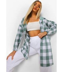 geruite oversized blouse met capuchon, green