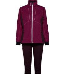 murto w+ xct softshell set outerwear sport jackets paars halti